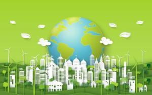 A green city skyline with a green globe behind
