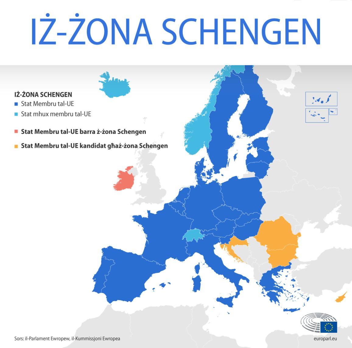 Mappa taż-żona Schengen