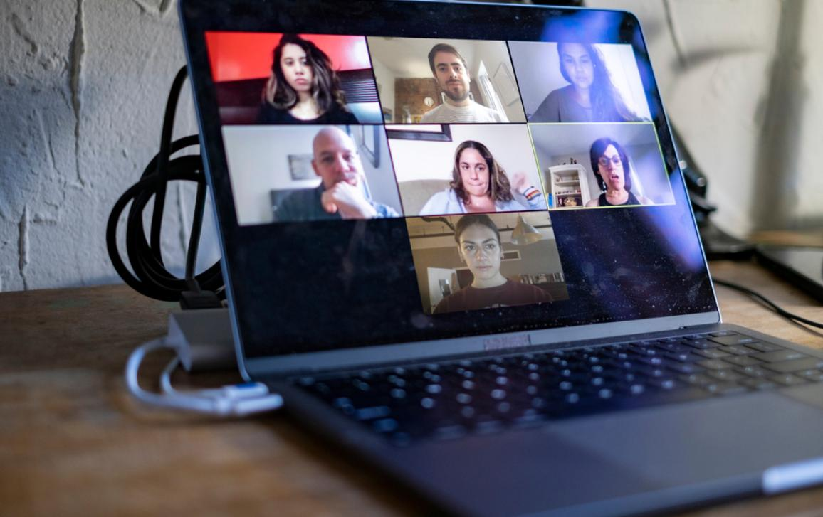 Laptop showing an online meeting