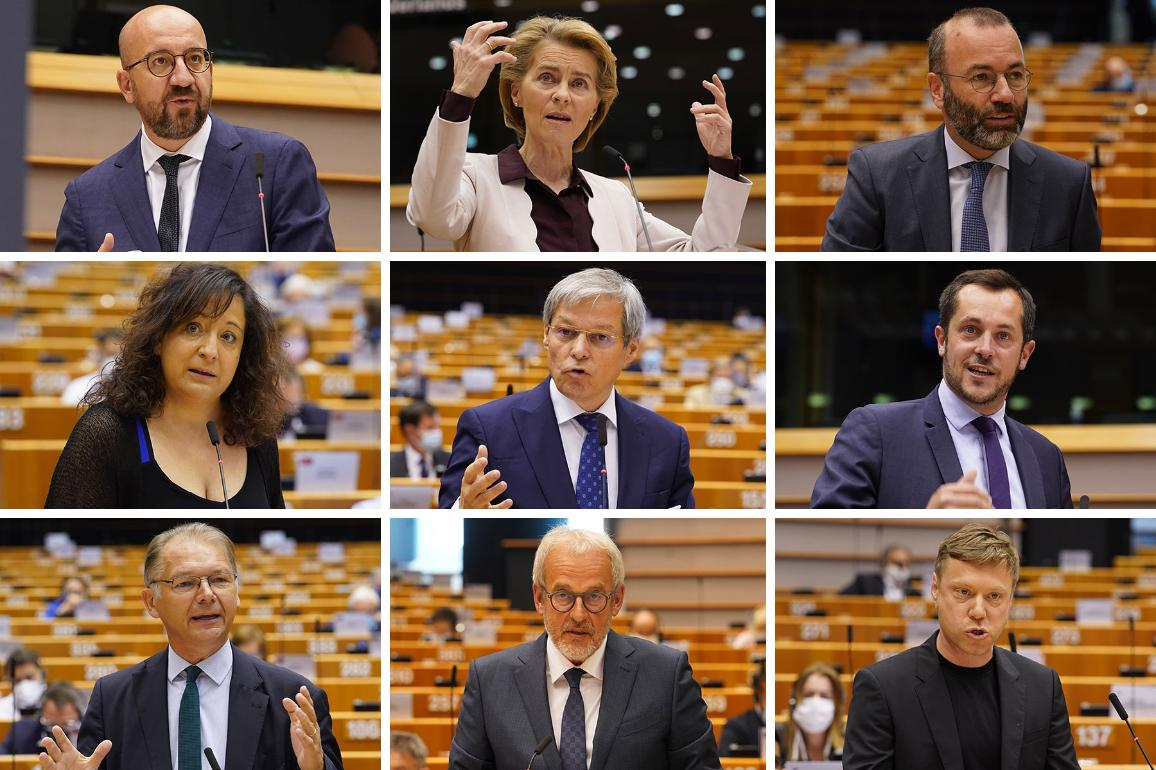 Photo panorama with speakers in plenary debate : Charles Michel, Ursula von der Leyen, Manfred Weber, Iraxte Garcia Perez, Ciolos