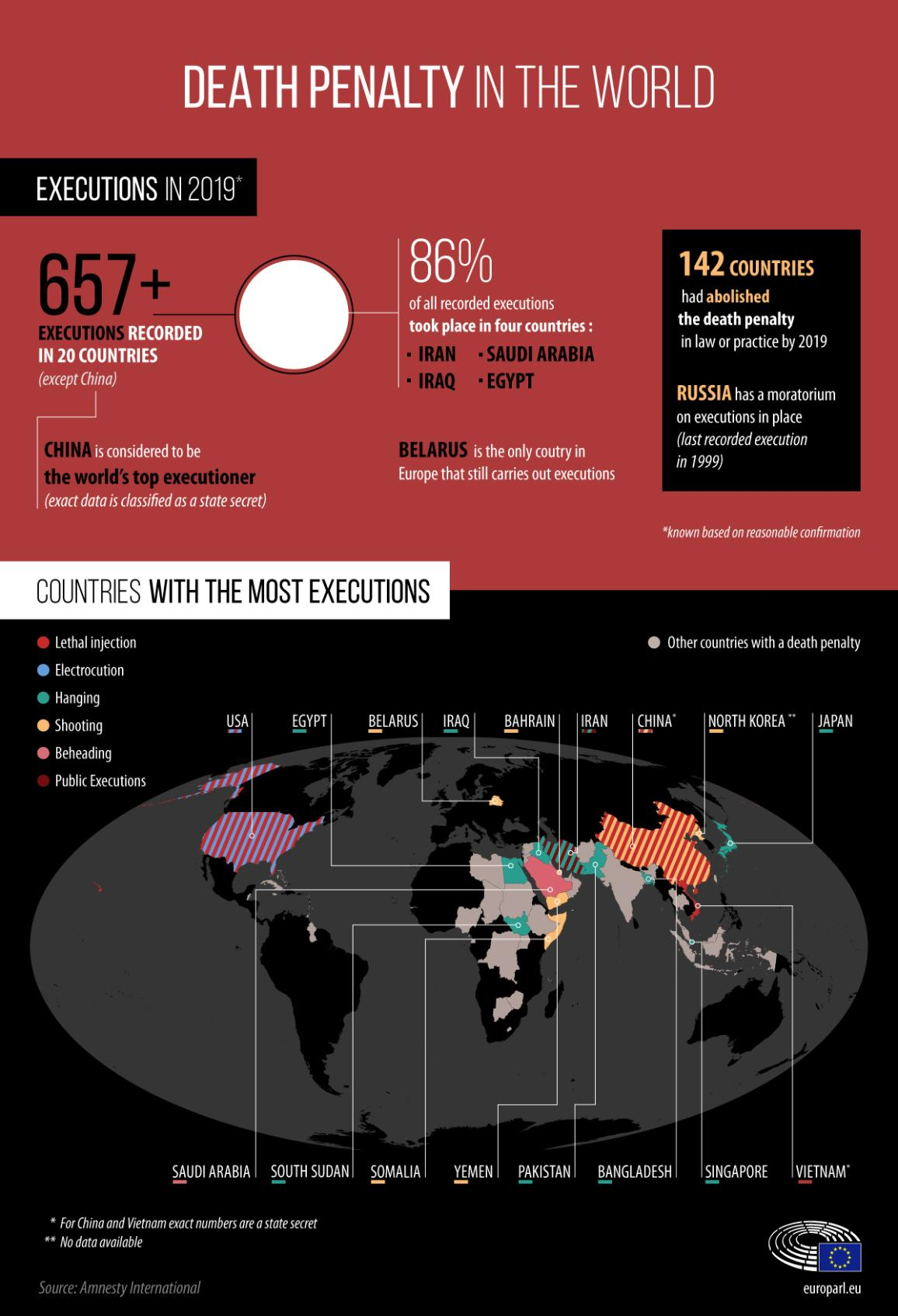 Infographic with fact and figures on death penalty in the world in 2019 and a map of countries with the most executions
