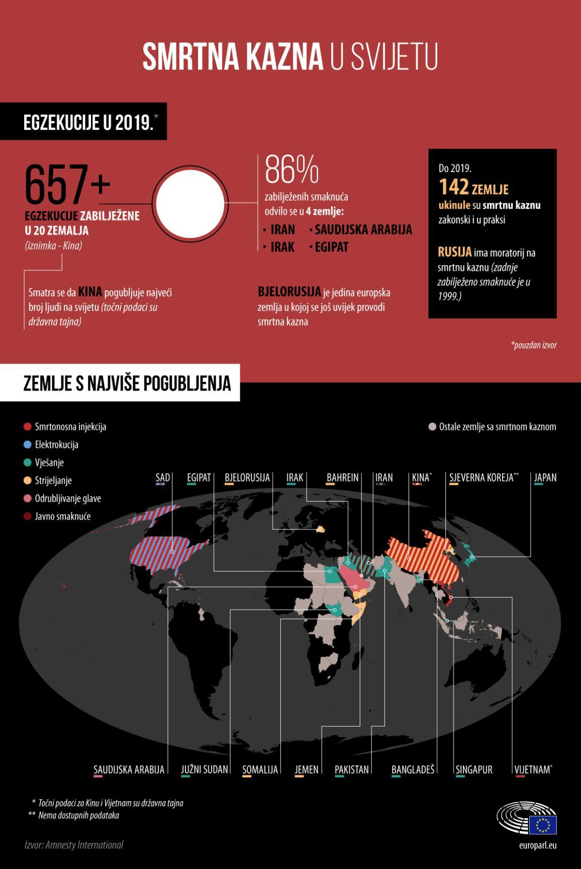 Infografika s činjenicama i brojkama o smrtnoj kazni u svijetu u 2019. i karta zemalja u kojima je bilo najviše smaknuća