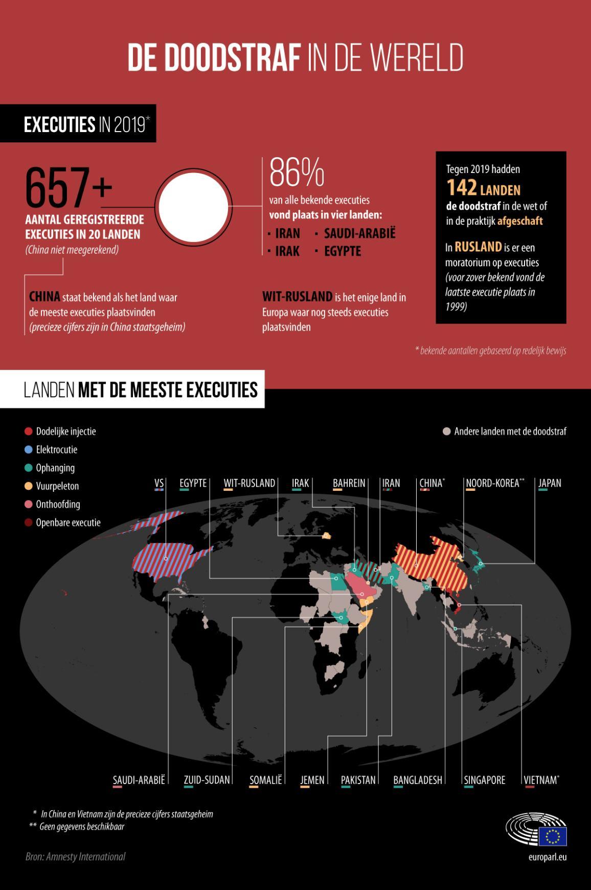 Infografiek met globale cijfers over de doodstraf in 2019 en een kaart met landen met de meeste terechtstellingen