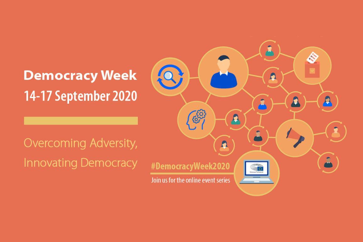 Visuel promotionnel pour la semaine de la démocratie au Parlement européen