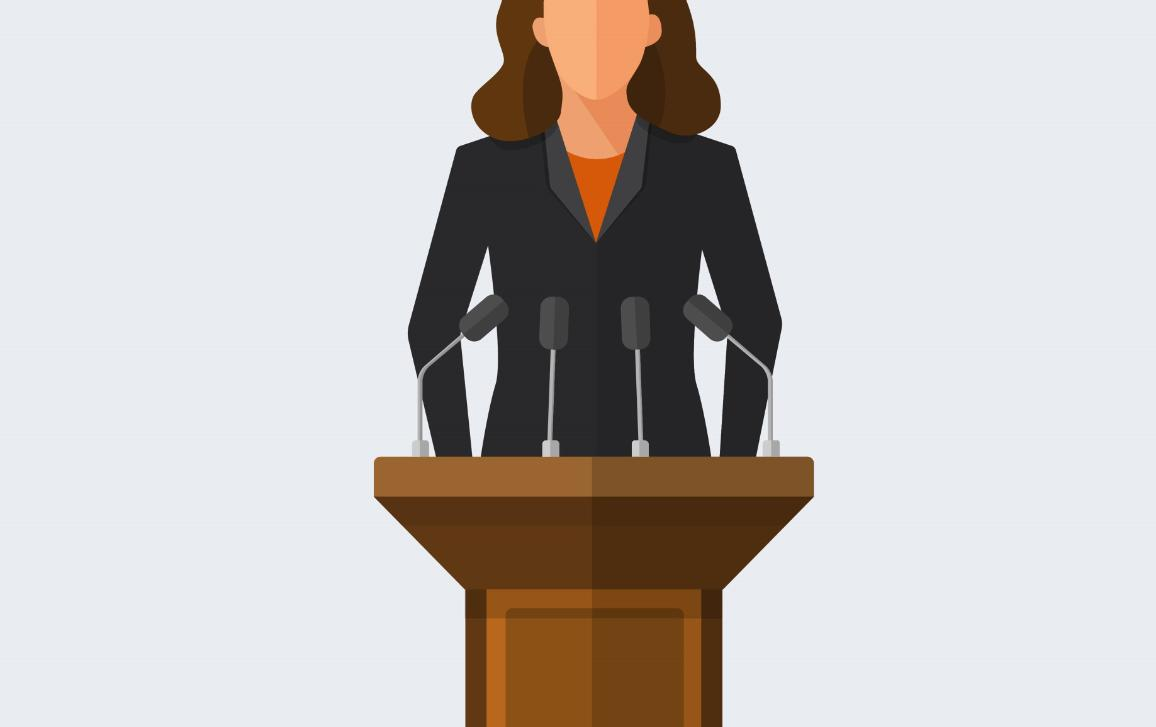 Female Politician Standing Behind Podium