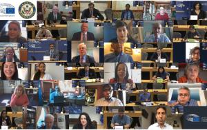 mosaic screen caption of EP and US Congress Members in the meeting of 22 September 2020 on racial equity, equality and justice