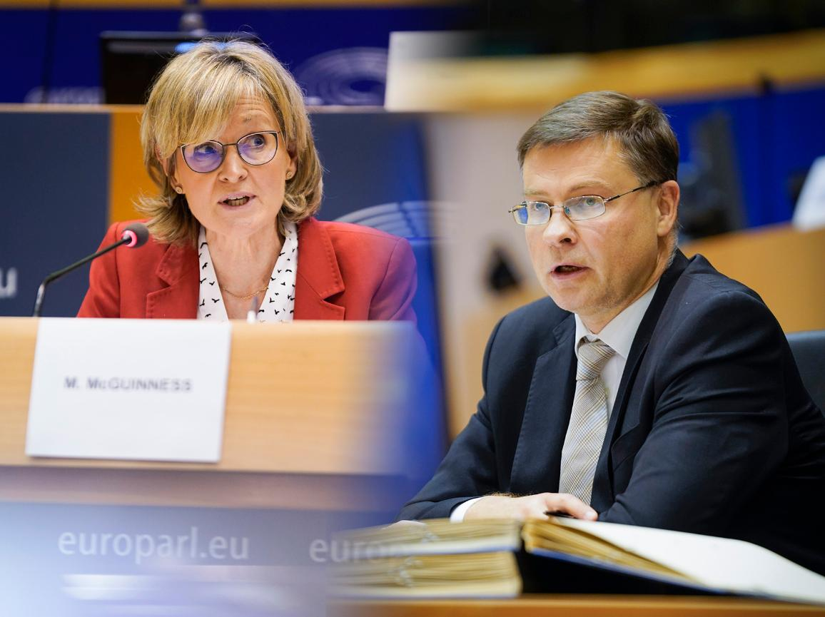 Mairead McGuinness, proposed to become a commissioner, and Valdis Dombrovskis, set to take over the trade portfolio are pictured during the hearings in the Parliament