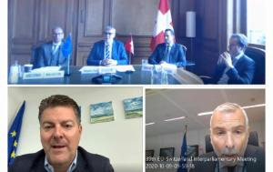 Swiss MPs, MEP Schwab and Mr Sannino (EEAS) during the 39th EU-Switzerland IPM, held remotely on 9 October 2020