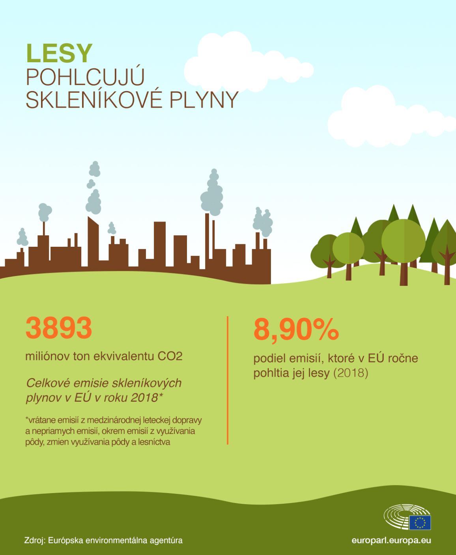 infografika: pohlcovanie CO2 lesmi