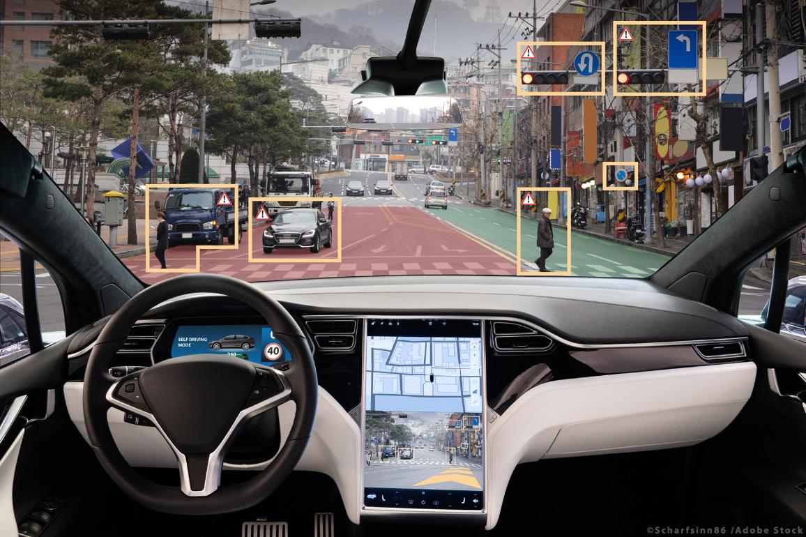 Self-driving vehicle on city street. ©AdobeStock/Scharfsinn86