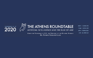 'The Athens Roundtable on Artificial Intelligence and the Rule of Law' written in white on dark blue background