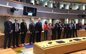Key negotiators lined up in Europa building after reaching provisional agreement on the MFF on 10 November 2020