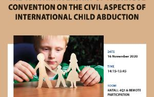 On the top of the picture we see the title of the event. Below on the right there is the date, time and place of the event. On the left is a photo of a boy who sadly looks at the model of a family cut out from the paper.