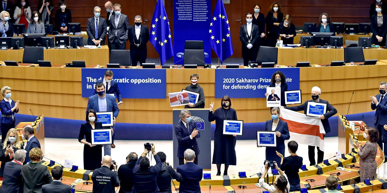 the 2020 Sakharov Prize for Freedom of Thought is awarded to the democratic opposition in Belarus, represented by several laureates including opposition leader Sviatlana Tsikhanouskaya