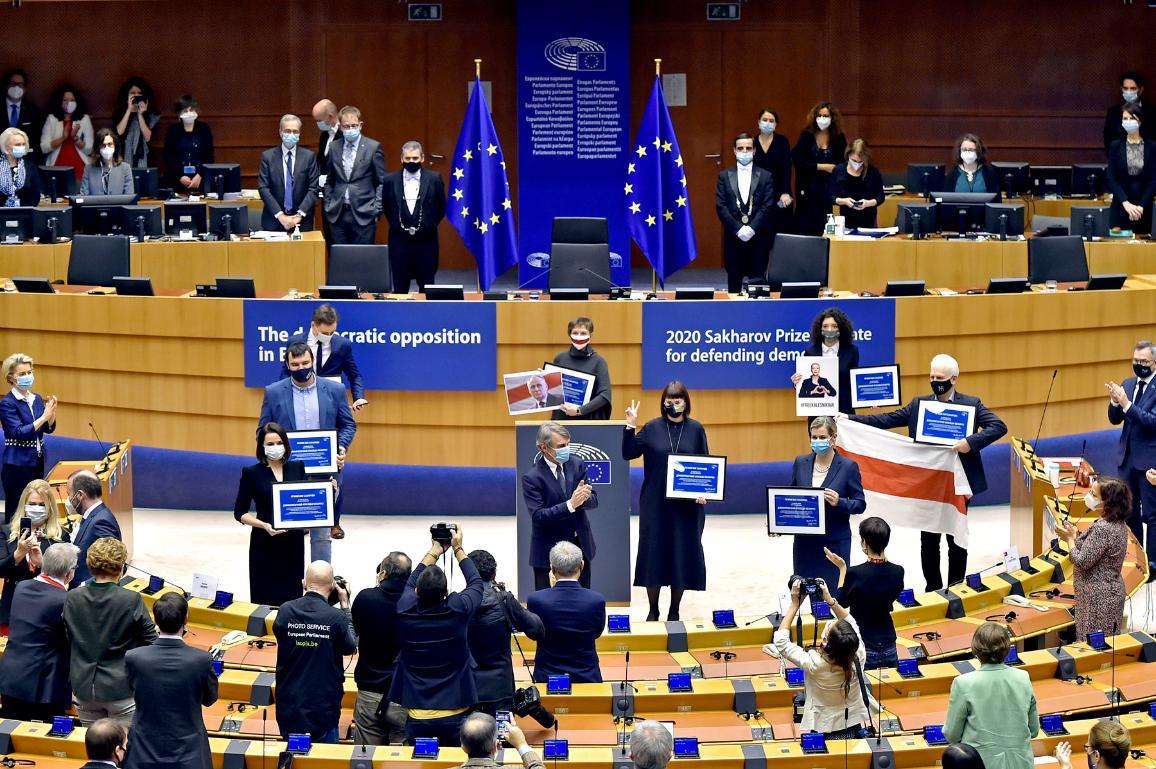 Zástupci demokratické opozice Běloruska na plénu 16.12.2020