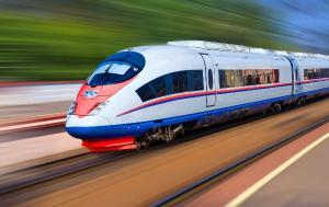Modern train at high speed