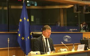 The picture represents MEP Andreas Schwab, next to the EU flag, chairing the 54th EU-EEA JPC meeting, held remotely on 16 November 2020