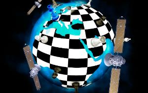 Earth globe seen as chess board with chess pieces, surrounded by satellites