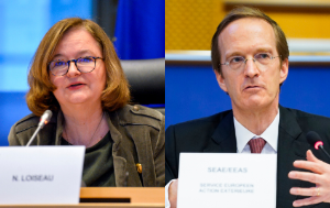 close ups of SEDE Chair Nathalie Loiseau and EEAS Deputy Secretary General for Common Security and Defence Policy Charles Fries