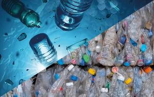 display of plastic bottles in water and in waste