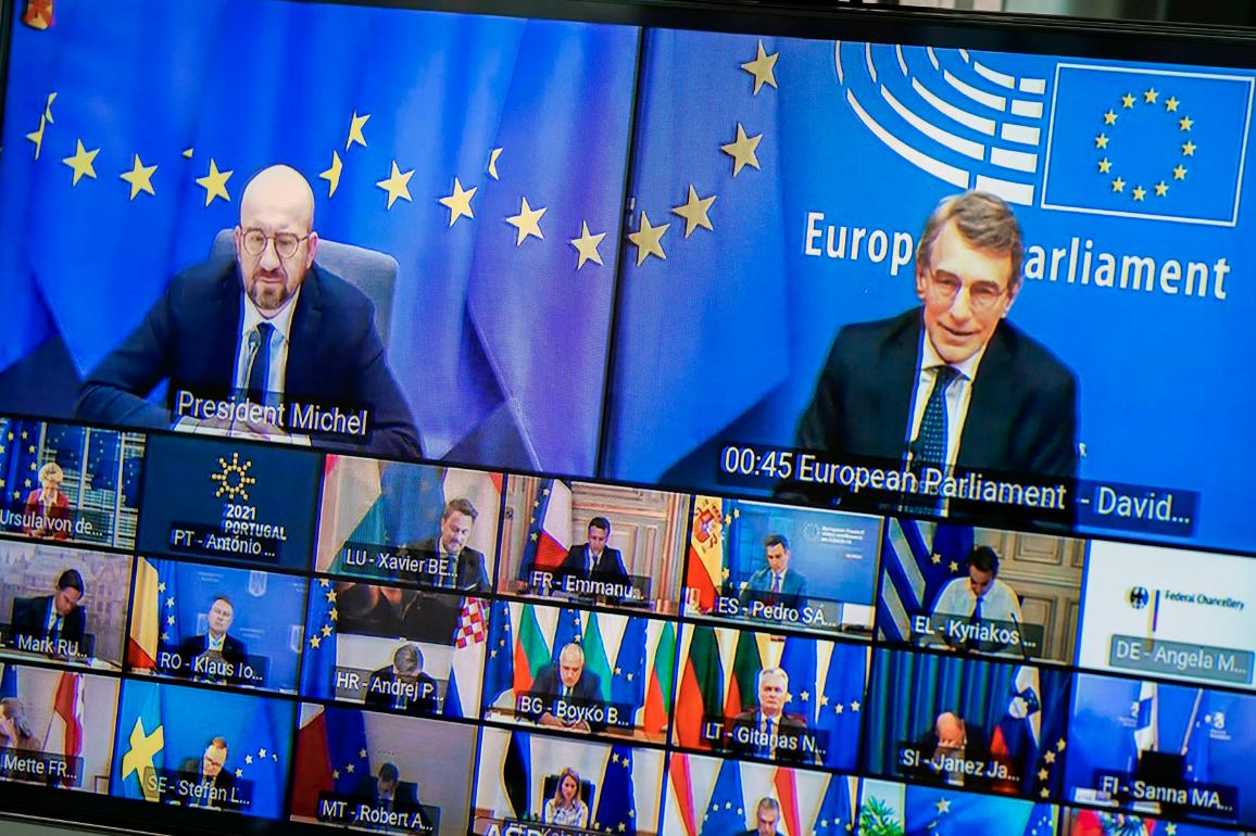EP President David Sassoli is pictured attending the EU summit