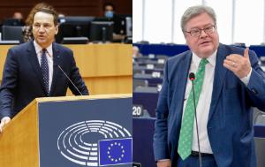 photo collage of D-US Chair Radek Sikorski and D-CN Chair Reinhard Bütikofer