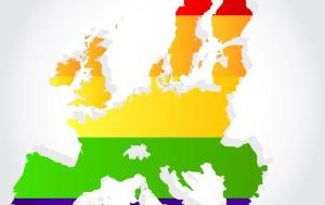 Shape of the map of Europe with LGBTI colours displayed