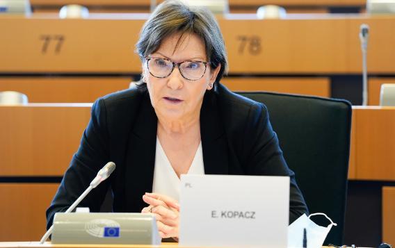 Ewa Kopacz MEP (EPP, Poland) speaking in a European Parliament meeting room