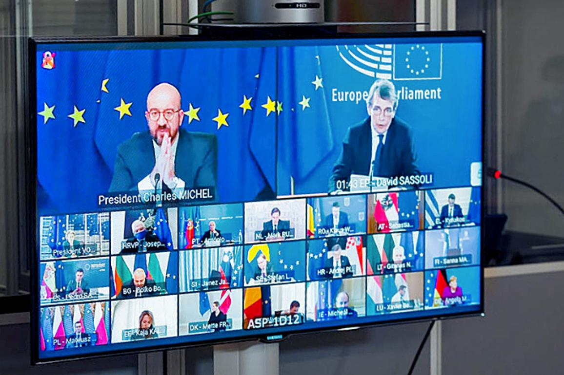 David Sassoli called for strengthening democrary during the video conference of the European summit meeting