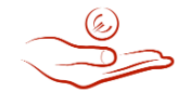 A drawn red hand holding a red Euro coin.