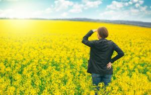 A woman agronomist looking far away to the future in a field of blooming cultivated rapese