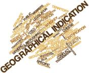 Various words about agricultural products and trade around the main expression on geographical indication