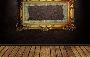 Empty frame on the wall. The painting is missing.