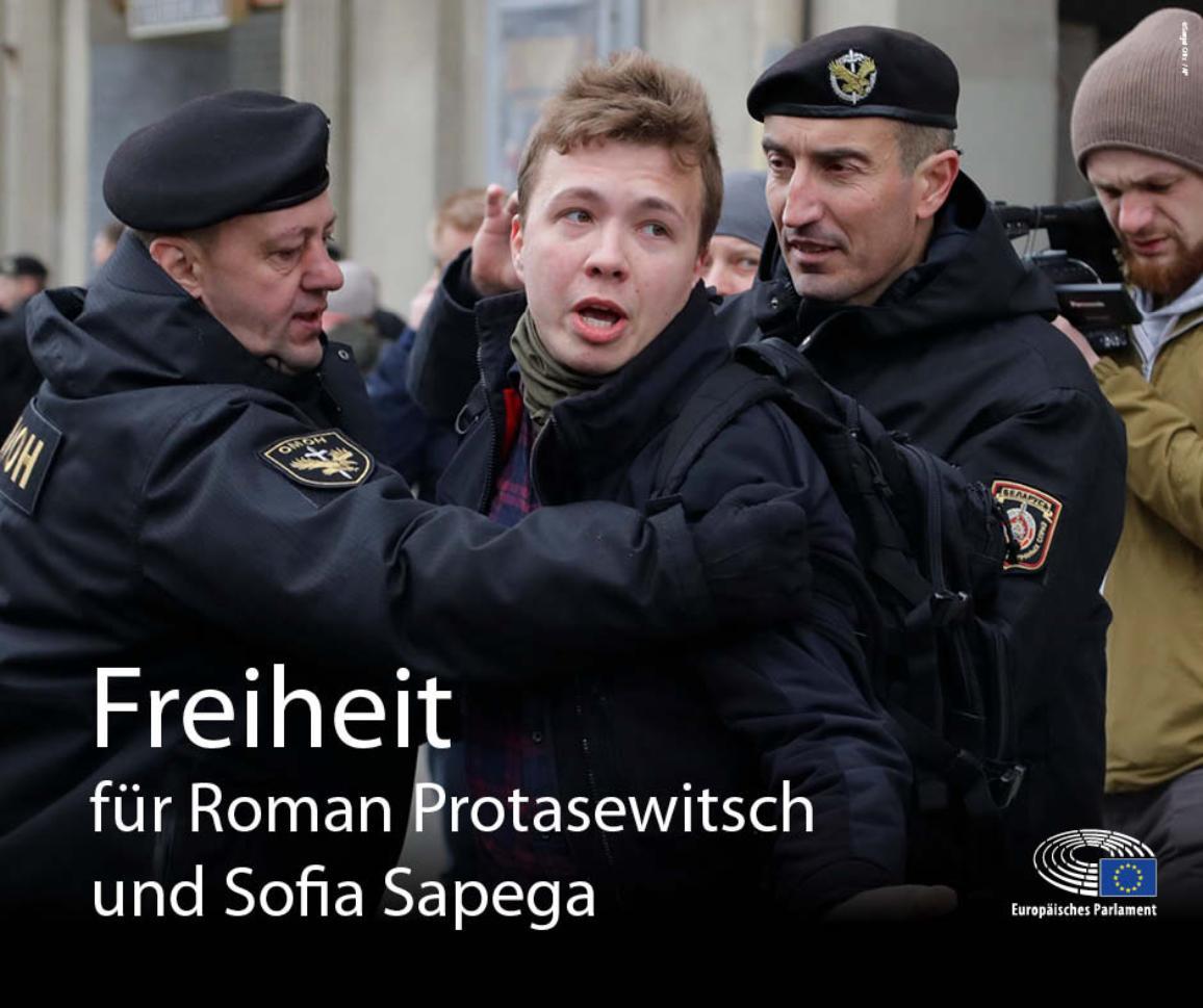 Bild von der Festnahme von Roman Protasewitsch