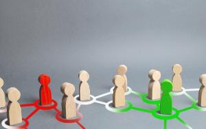 red and green figures of people influence on their surroundings people through communication and social networks