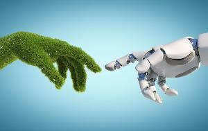 Robot hand and natural hand covered with grass reaching to each other