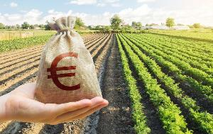 symbol of Euro with a farm field in the background