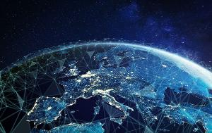 Telecommunication network above Europe viewed from space