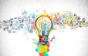 Lightbulb, bright idea and creative thinking