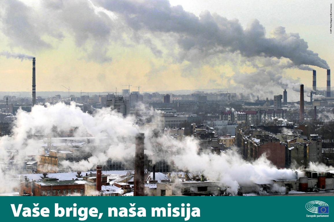 Puno industrije i dima uz natpis Vaše brige, naša misija