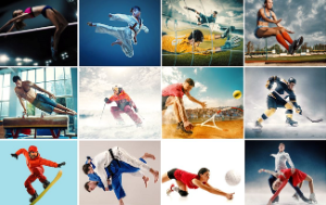 Creative collage made of photos of people doing sports (tennis, running, badminton, swimming, basketball, handball, volleyball, american football, rugby, snowboarding, hockey)