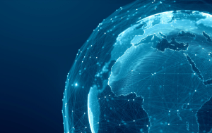 Communication technology global world network concept. Connection lines around Earth Globe, digital data flow.