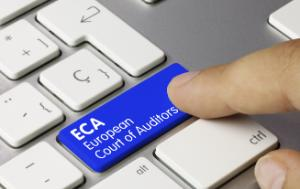 Finger pushing computer key that says ECA European Court of Auditors