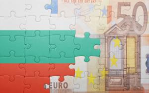 Puzzle with the national flag of Bulgaria and a 50 Euro banknote