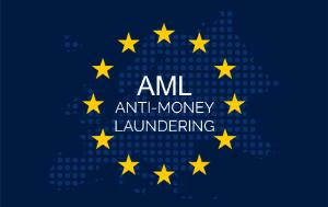 AML Anti-Money Laundering inside EU flag with the world map in the background