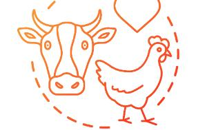 Circle icon with a hen and a cow head inside