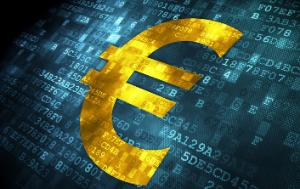 Currency concept: Euro on digital background