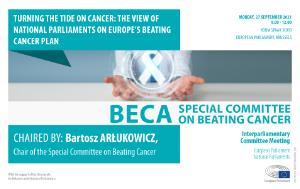 Poster with practical information on the meeting photo of a white cancer ribbon held by a person in a white doctor's coat