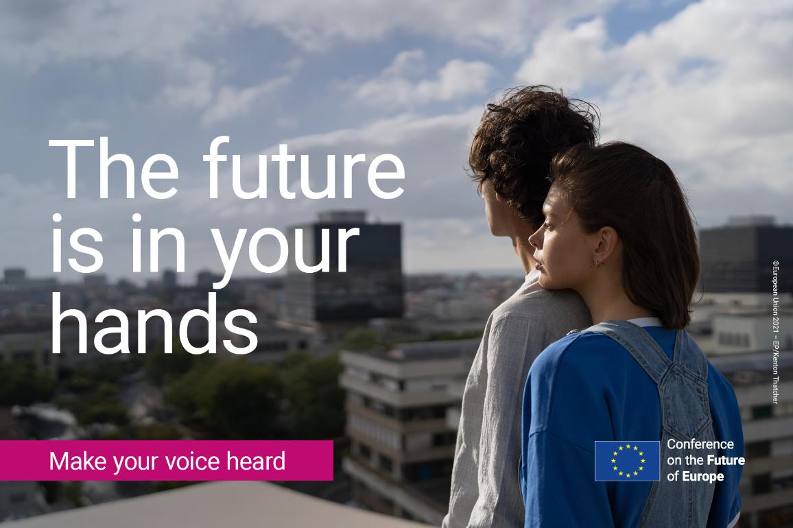 Make your voice heard: a young couple contemplating the future