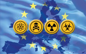 Chemical, biological, radiological and nuclear signs with the EU flag as background